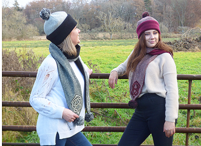 Breagha hats and pompom scarves